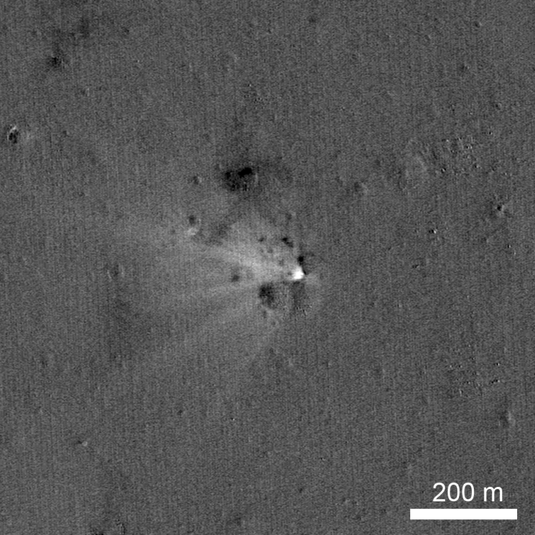 LRO has imaged the LADEE impact site on the eastern rim of Sundman V crater. The image was created by ratioing two images, one taken before the impact and another afterwards. The bright area highlights what has changed between the time of the two images, specifically the impact point and the ejecta. Image Credit: NASA/Goddard/Arizona State University