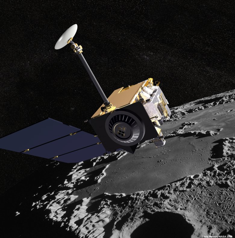 Artist concept of the Lunar Reconnaissance Orbiter with Apollo mission imagery of the moon in the background. Image Credit: NASA's Goddard Space Flight Center