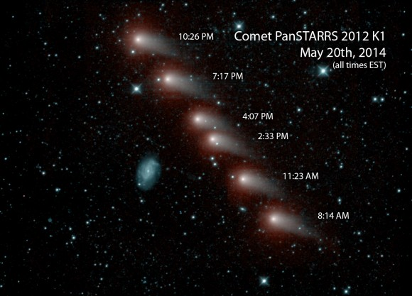 NASA's NEOWISE mission spies K1 PanSTARRS on May 20th as it slides by the galaxy NGC 3726 (blue). Credit: NASA/JPL.