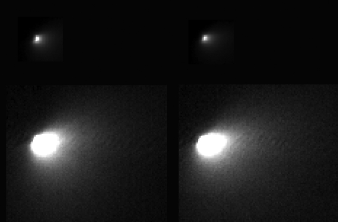 These images were taken of comet C/2013 A1 Siding Spring by NASA's Mars Reconnaissance Orbiter on Oct. 19, 2014, during the comet's close flyby of Mars and the spacecraft. Comet Siding Spring is on its first trip this close to the sun from the Oort Cloud at the outer fringe of the solar system. Image Credit: NASA/JPL-Caltech/University of Arizona