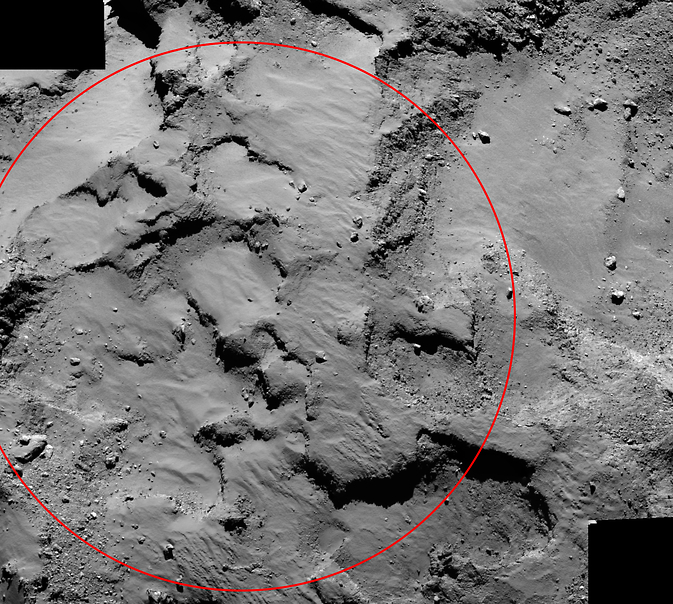 """An annotated mosaic from the Rosetta spacecraft shows """"Site J,"""" the primary landing site on comet 67P/Churyumov–Gerasimenko for the mission's Philae lander. Image Credit: ESA/Rosetta/MPS/UPD/LAM/IAA/SSO/INTA/UPM/DASP/IDA"""