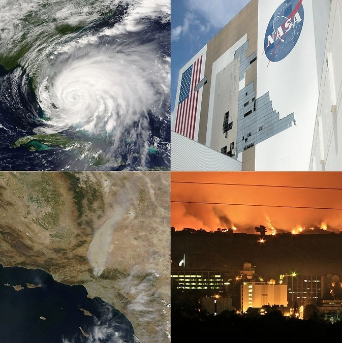 Climate-related extreme events such as hurricanes, sea level rise, and wildfires are expected to increase in the future and pose hazards to NASA infrastructure. Image Credit: NASA