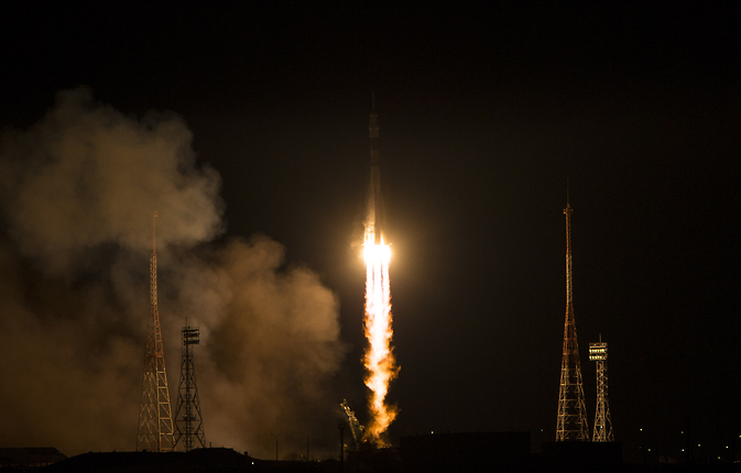 The Soyuz TMA-15M rocket launches from the Baikonur Cosmodrome in Kazakhstan on Monday, Nov. 24, 2014 carrying Expedition 42 Soyuz Commander Anton Shkaplerov of the Russian Federal Space Agency (Roscosmos), Flight Engineer Terry Virts of NASA, and Flight Engineer Samantha Cristoforetti of ESA. Image Credit: NASA/Aubrey Gemignani