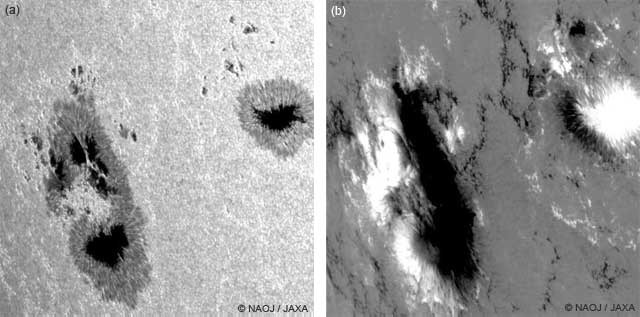 "Figure 2: (a) White light image of the sunspots and (b) Magnetic field map of the sunspots on Nov. 15, 2014 taken by ""Hinode"". (Field of view) w: aprox.120,000 km × h: aprox.120,000 km"