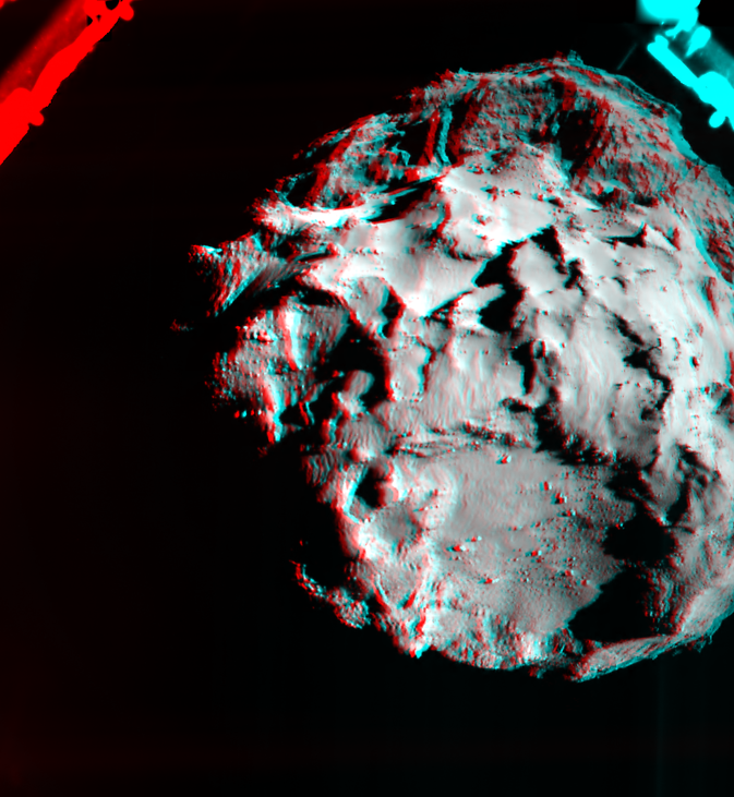This 3D image shows what it would look like to fly over the surface of comet 67P/Churyumov-Gerasimenko. The image was generated by data collected by the ROLIS instrument aboard the European Space Agency's Philae spacecraft during the decent to the spacecraft's initial touchdown on the comet Nov. 12. Image Credit: ESA/Rosetta/Philae/ROLIS/DLR