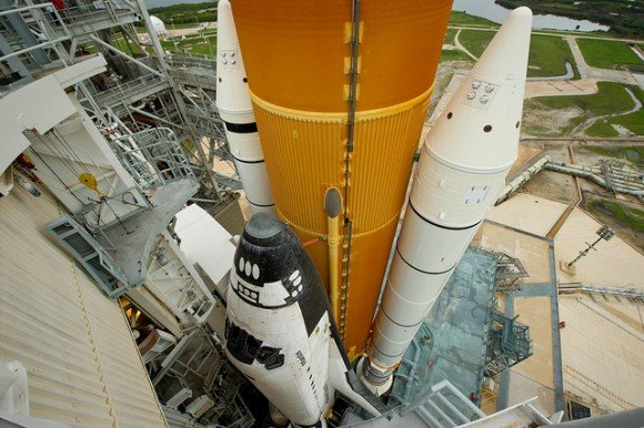 Atlantis sits on the launch pad in July 2011 ahead of the final launch of the space shuttle program, STS-135. Credit: NASA/Bill Ingalls