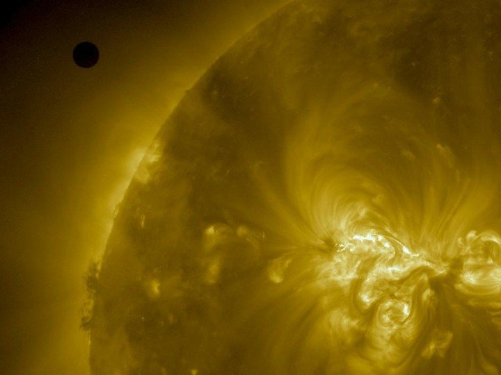 Venus turns its night time back towards us during the 2012 transit of the Sun, as seen from NASA's Solar Dynamics Observatory (Credit: NASA/SDO).