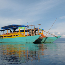 Research vessel on Lake Matano, Indonesia. Sean Crowe, University of British Columbia.