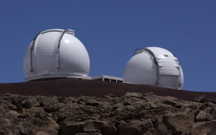 By combining the light from the two 10-meter Keck telescopes on Mauna Kea on Hawaii using a method called interferometry, they could achieve an effective resolution equivalent to a telescope with an 85-meter mirror (the distance between the two telescopes). (Credit: NASA/JPL)