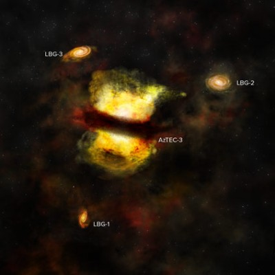 Artist's impression of the protocluster observed by ALMA. It shows the central starburst galaxy AzTEC-3 along with its labeled cohorts of smaller, less active galaxies. New ALMA observations suggest that AzTEC-3 recently merged with another young galaxy and that the whole system represents the first steps toward forming a galaxy cluster. Credit: B. Saxton (NRAO/AUI/NSF)
