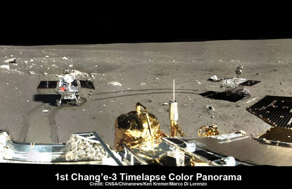 This time-lapse color panorama from China's Chang'e-3 lander shows the Yutu rover at two different positions during its trek over the Moon's surface at its landing site from Dec. 15-18, 2013. This view was taken from the 360-degree panorama. Credit: CNSA/Chinanews/Ken Kremer/Marco Di Lorenzo.