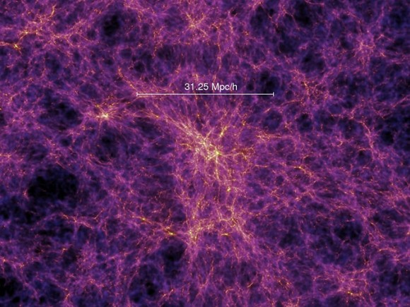 Cosmic Infrared Background ExpeRIment (CIBER) simulation of the density of matter when the universe was one billion years old, as produced by large-scale structures from dark matter. Credit: Caltech/Jamie Bock