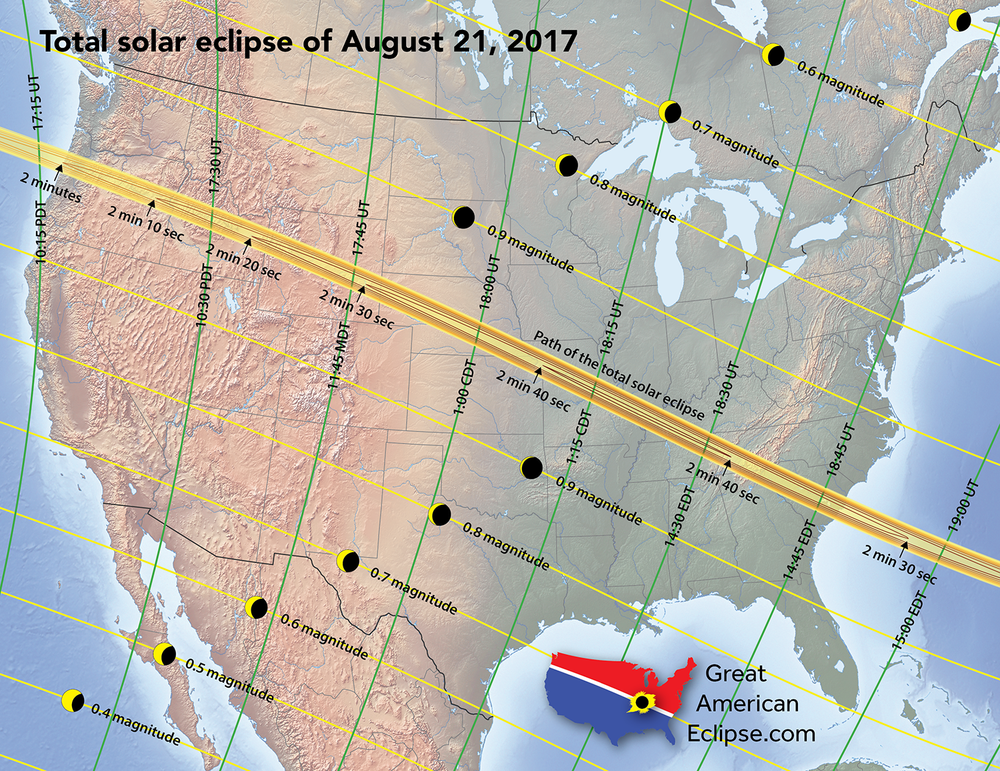 The path of totality across the United States on August 21st, 2017. Credit: Great American Eclipse.com.