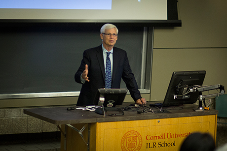 Nobel laureate and alumnus Robert Engle delivers the T.C. Liu Lecture Oct. 24. Ope Oladipo/Cornell University Photography
