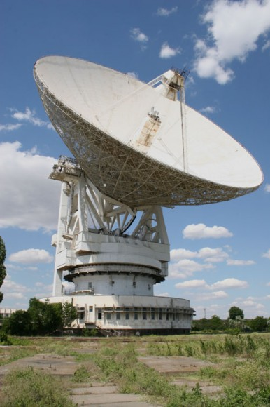 The 70 meter Evpatoria Planetary Radar radio telescope in the Crimea was used to transmit interstellar messages in 1999, 2001, 2003, and 2008 Photo by S. Korotkiy