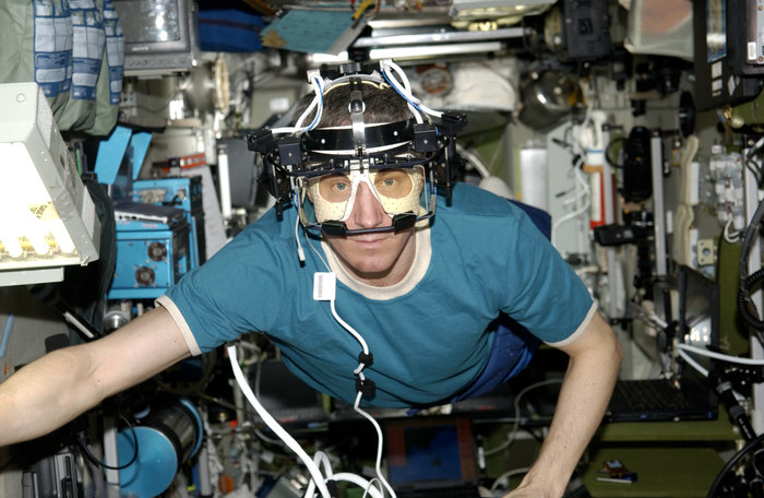 Cosmonaut Sergei Krikalev wearing ESA's Eye Tracking Device during Expedition 11 to the International Space Station in 2005. Copyright ESA/NASA