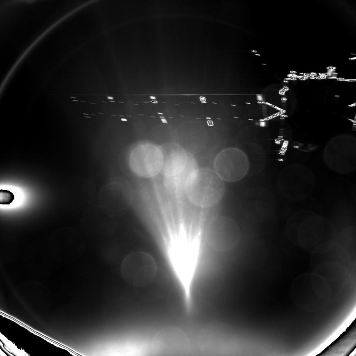Rosetta's lander Philae took this parting shot of its mothership shortly after separation. The image was taken with the lander's CIVA-P imaging system and captures  one of Rosetta's 14 metre-long solar arrays. It was stored onboard the lander until the radio link was established with Rosetta around two hours after separation, and then relayed to Earth. Copyright ESA/Rosetta/Philae/CIVA