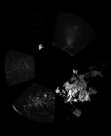 Rosetta's lander Philae has returned the first panoramic image from the surface of a comet. The view, unprocessed, as it has been captured by the CIVA-P imaging system, shows a 360º view around the point of final touchdown. The three feet of Philae's landing gear can be seen in some of the frames. Confirmation of Philae's touchdown on the surface of Comet 67P/Churyumov–Gerasimenko arrived on Earth at 16:03 GMT/17:03 CET on 12 November. Copyright ESA/Rosetta/Philae/CIVA