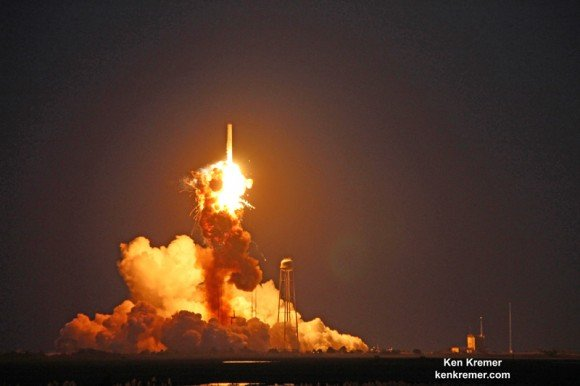 First stage propulsion system at base of Orbital Sciences Antares rocket appears to explode moments after blastoff from NASA's Wallops Flight Facility, VA, on Oct. 28, 2014, at 6:22 p.m. Credit: Ken Kremer