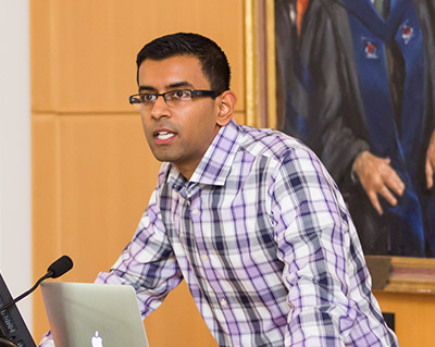 """Arvind Narayanan, an assistant professor of computer science at Princeton, introduces the keynote address at a day-long conference on """"Web Transparency and Privacy"""" held Oct. 24. The conference brought together technical and policy experts to discuss current methods being used to track people's online activities and possible approaches to improving privacy and transparency on the web. The event was hosted by Princeton's Center for Information Technology Policy. (Photos by David Kelly Crow)"""