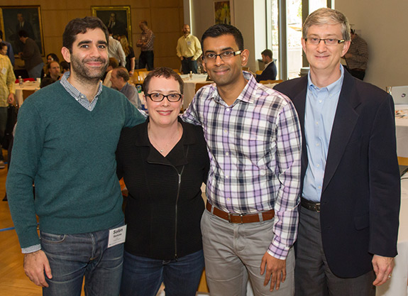 The conference, held in the University's Friend Center, included (from left) postdoctoral research associate Solon Barocas, journalist and author Julia Angwin, assistant professor of computer science Arvind Narayanan, and Ed Felten, director of the University's Center for Information Technology Policy.