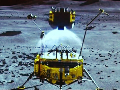 The Chinese Lunar Sample Return mission is show in simulation in the China View video. This mission would pave the way for a Chinese Mars sample return by 2030. (Photo Credit: China View)