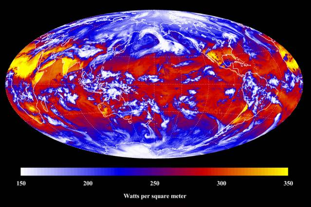 Outgoing longwave radiation from CERES Instrument on NASA Aqua Satellite for March 18, 2011, near Vernal Equinox of 2011 Courtesy of NASA