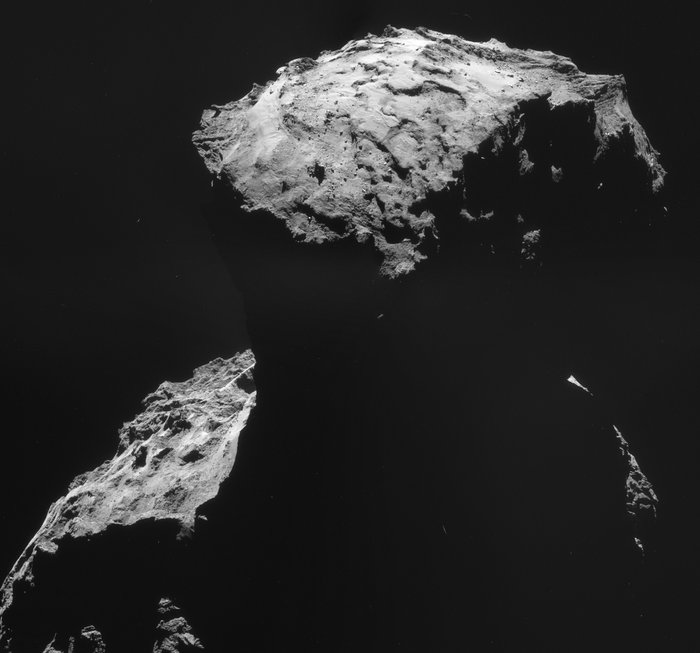 This four-image NAVCAM mosaic shows Philae's landing site as Rosetta departed its 10 km orbit last week in order to prepare for the deployment of Philae on 12 November. The images comprising this montage were taken on 30 October, when the spacecraft was 26.8 km from the centre of the comet. The image resolution at this distance is 2.27 m/pixel, and the mosaic covers 4.0 x 3.7 km. Copyright ESA/Rosetta/NAVCAM – CC BY-SA IGO 3.0