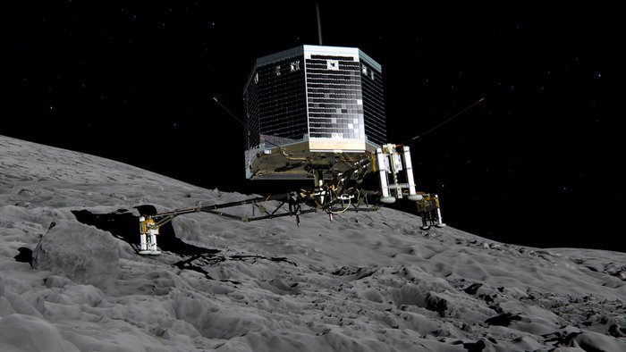 Still image from animation of Philae separating from Rosetta and descending to the surface of comet 67P/Churyumov-Gerasimenko in November 2014.  Copyright ESA/ATG medialab