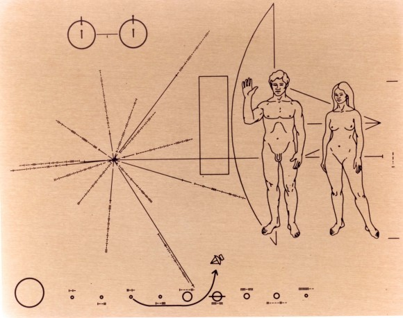 The plaque affixed to the Pioneer 10 and 11 spacecraft, the first spacecraft to leave our solar system. In the upper left corner is a diagram depicting the hydrogen atom, the most abundant element in the universe. The diagram symbolizes the transition of the electron from a spin-up to a spin-down state. This transition is responsible for radio emissions at the wavelength of 21 cm by clouds of hydrogen gas in interstellar space. This phenomenon is very familiar to radio astronomers and provides a distance standard used to indicate the sizes of the human beings. In the middle left is a representation of position of the sun with respect to the center of the galaxy and 14 pulsars. At the bottom is a map of the solar system indicating the origin of the spacecraft as the sun's third planet. The relative distances of the planets from the sun are indicated as binary numbers with a unit one tenth the distance of Mercury from the sun. At the right is a depiction of a human couple with the man's arm raised in a gesture of friendly greeting and the pioneer spacecraft drawn in outline as a backdrop NASA Ames Research Center.