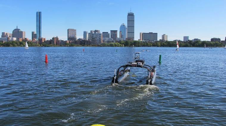 The MIT-Olin team's unmanned surface vehicle sank during tests on the Charles River, but was reconfigured and ultimately won the Maritime RobotX Challenge. Photo courtesy of the MIT-Olin RobotX Team.