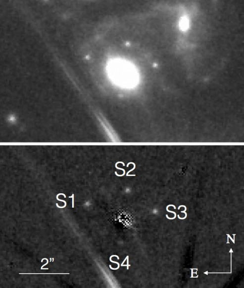 The four dots centered on the bright elliptical galaxy at top are multiple images of supernova SN Refsdal taken with the Hubble Space Telescope between November 10-20, 2014. In the bottom image, the galaxy has been digitally removed to show only the supernova images, labeled S1 through S4. The line segments are diffraction spikes from a nearby star. Credit: P.L. Kelly/GLASS/Hubble Frontier Fields