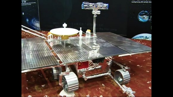A mock-up of a future Chinese Martian rover was displayed at the International Industry Fair in Shanghai. Reporter coverage also revealed simulations of the Chinese Lunar sample-return mission. (Credit: South China Morning Post)