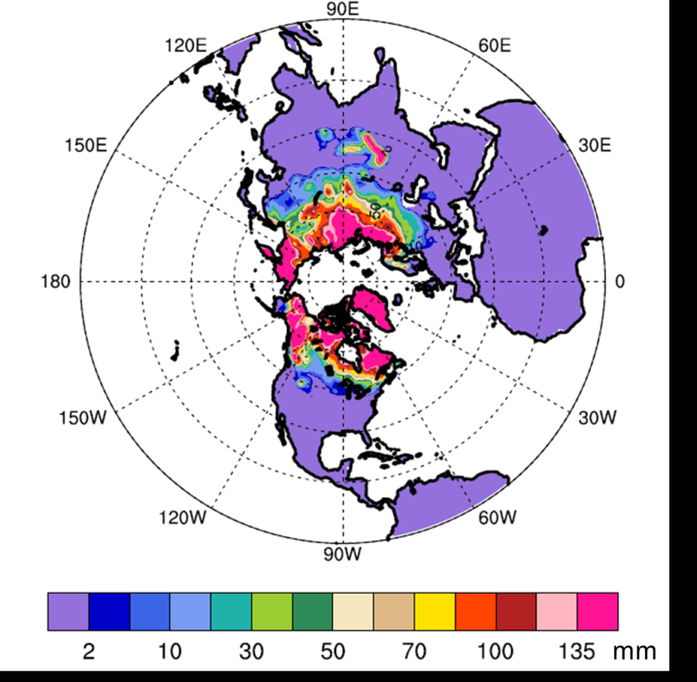 The Community Land Model version 4 (CLM4) results are used to plot the figure. It shows the amount of water derived from snow pack in Spring 2003 predicted by CLM4, using snow-pack data from 2002. Its spatial pattern is comparable to those observed by satellites. Credit: Yong-Fei Zhang, The University of Texas at Austin