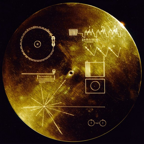 The cover of the phonograph record on the Voyager 1 and 2 spacecraft, which contains an interstellar message encoded on a phonographic record. The encoded instructions attempt to explain to extraterrestrials how to play the record, and the location of the Earth. Credit: NASA JPL