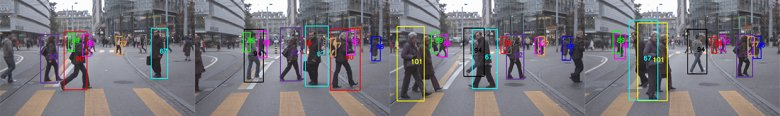 Frames from a moving camera recorded by the Swiss Federal Institute of Technology in Zurich, Switzerland, show how UW technology distinguishes among people by giving each person a unique color and number, then tracking them as they walk.Swiss Federal Institute of Technology