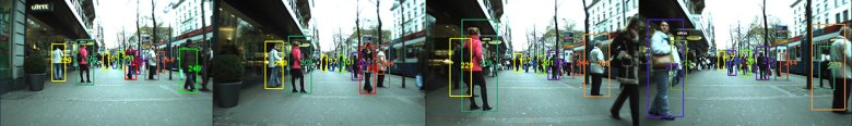 The tracking system first systematically picks out people in a camera frame, then follows each person based on his or her clothing texture, color and body movement. Image credit: Swiss Federal Institute of Technology