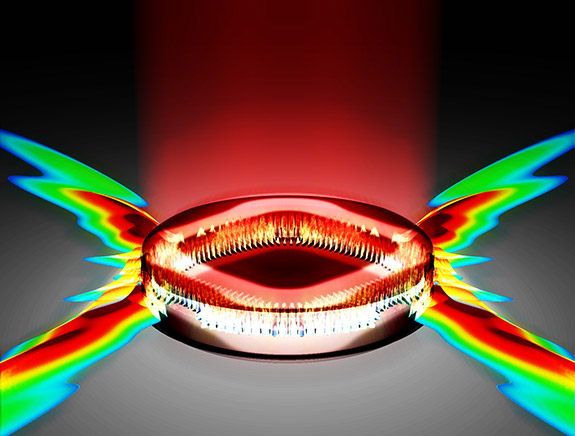 Engineers at Princeton found that carefully shaping the area to which energy is delivered within a laser could dramatically improve the laser's performance. In the case illustrated, pumping energy into a diamond shape produces a powerful directional emission of light from the laser. (Illustration by Omer Malik, Department of Electrical Engineering)
