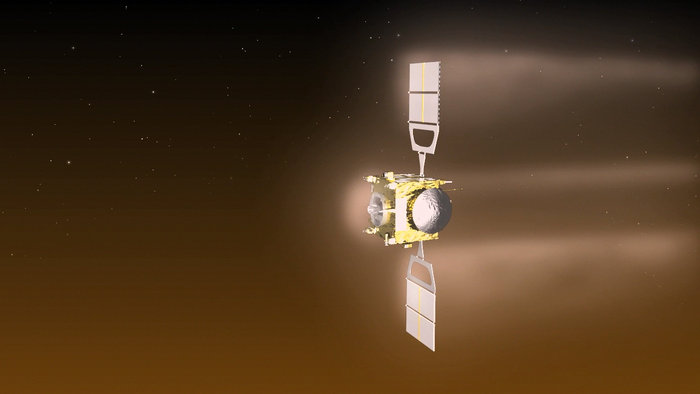 Visualisation of Venus Express during  aerobraking manoeuvre in 2014. The altitude of the orbit will now be raised back up, allowing science investigations to continue into 2015. Credit: ESA–C. Carreau