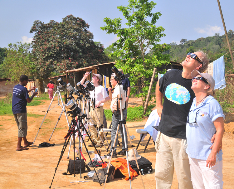The Zeilers view the November 2013 eclipse from Africa. Credit: Michael Zeiler.