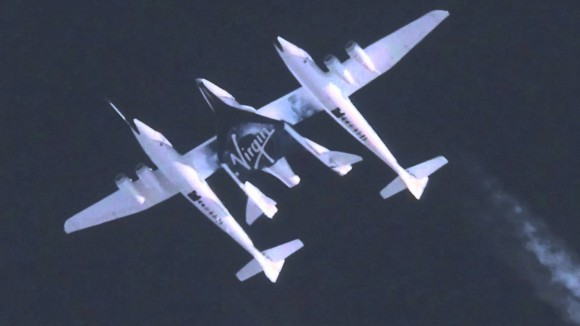 WhiteKnightTwo and SpaceShipTwo in flight during test prior to release of the experimental space vehicle. (Photo Credit: Virgin Galactic)