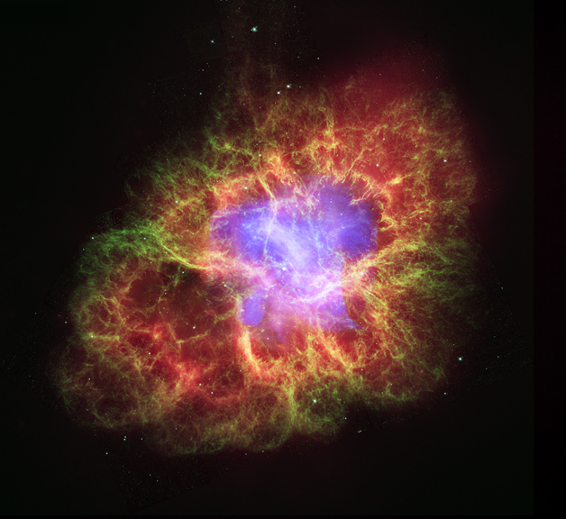 The supernova that produced the Crab Nebula was detected by naked-eye observers around the world in 1054 A.D. This composite image uses data from NASA's Great Observatories, Chandra, Hubble, and Spitzer.