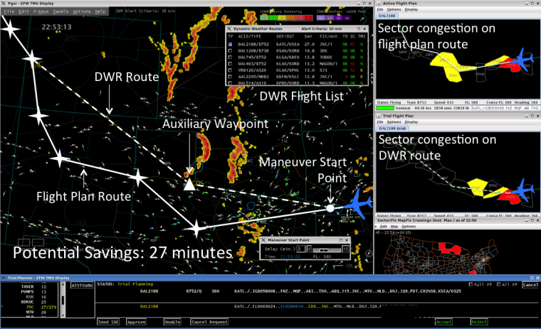 The Dynamic Weather Routes tool being tested at an American Airlines control center saves time with better options for avoiding bad weather. Image Credit: NASA