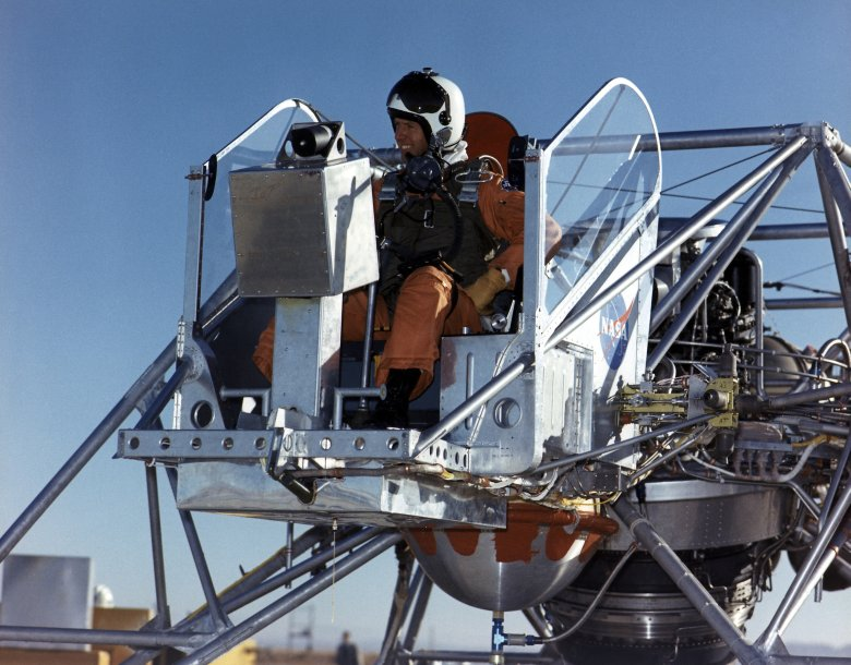 NASA research pilot Joe Walker prepares for a flight in the Lunar Landing Research Vehicle. Eventually, all prime and backup commanders assigned to Apollo lunar landing missions practiced in the unusual craft. Image Credit: NASA