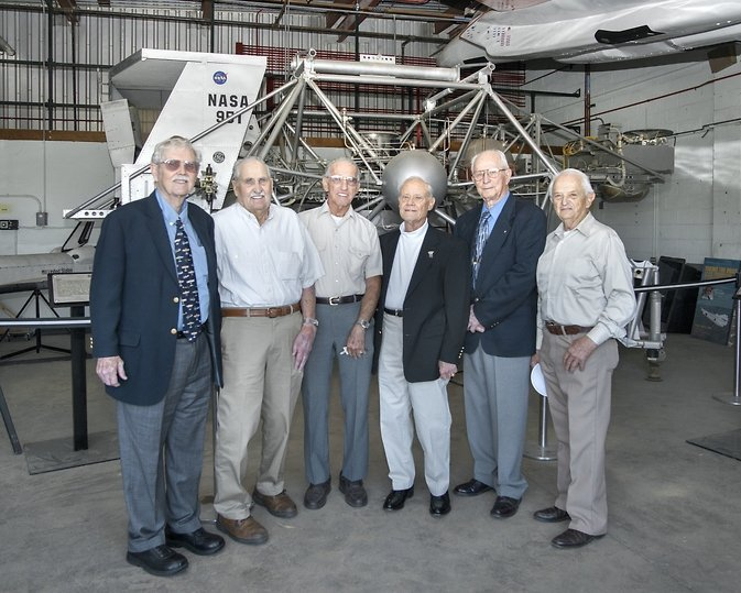 NASA Armstrong hosted a colloquium to celebrate the 50th anniversary of the first LLRV flight. Guests included original team members, from left, Wayne Ottinger, Dave Stoddard Glenn Angle, Gene Matranga, Donald Mallick, and Adam Mello. Image Credit: NASA / Ken Ulbrich