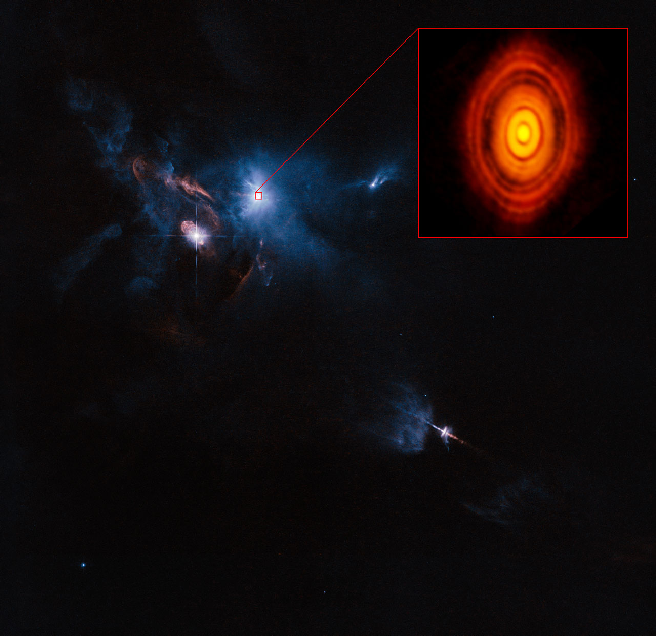 This is a composite image of the young star HL Tauri and its surroundings using data from ALMA (enlarged in box at upper right) and the NASA/ESA Hubble Space Telescope (rest of the picture). This is the first ALMA image where the image sharpness exceeds that normally attained with Hubble. Credit: ALMA (ESO/NAOJ/NRAO), ESA/Hubble and NASA Acknowledgement: Judy Schmidt