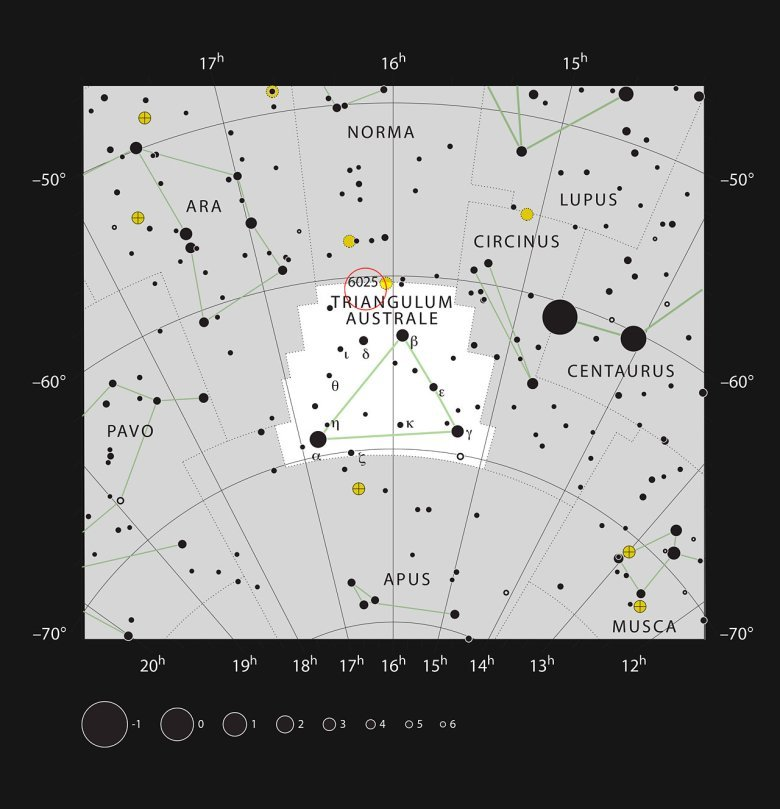 This chart shows the location of the distant galaxy ESO 137-001 in the constellation of Triangulum Australe (The Southern Triangle). This is a rich area of the sky close to the Milky Way, but this galaxy is faint and needs a large telescope to be visible. Credit: ESO, IAU and Sky & Telescope