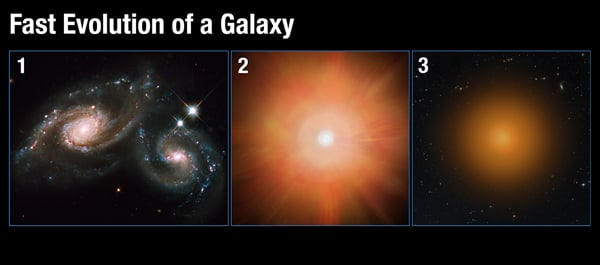 This illustrates how a vibrant, star-forming galaxy quickly transforms into a sedate galaxy composed of old stars. The scenario begins when two galaxies merge (Panel 1), funneling a large amount of gas into the central region. The gas compresses, sparking a firestorm of star birth, which blows out most of the remaining star-forming gas (Panel 2). Devoid of its fuel, the galaxy settles into a quiet existence, composed of aging stars (Panel 3). Credit: A. Feild (STScI)