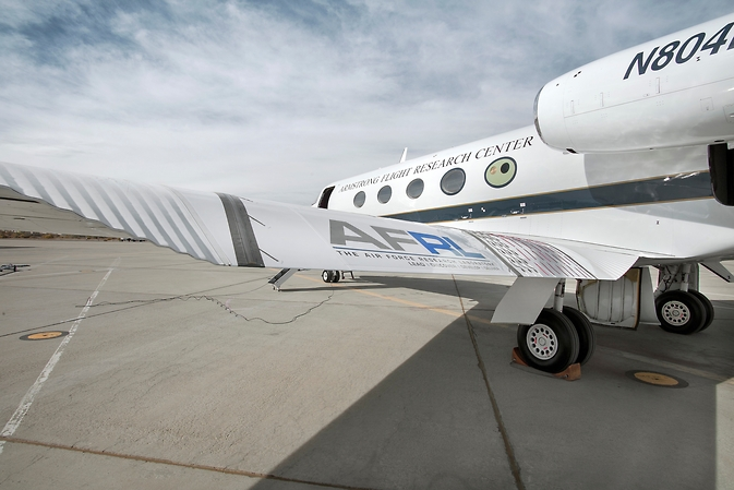 For taxi testing on Oct. 31, 2014 at NASA's Armstrong Flight Research Center at Edwards Air Force Base, in California, the Adaptive Compliant Trailing Edge (ACTE) flap was extended to 20 degrees deflection. Flight results will validate whether the seamless design with its advanced lightweight materials can reduce wing structural weight, improve fuel economy and efficiency, and reduce environmental impacts. Image Credit: NASA/Ken Ulbrich