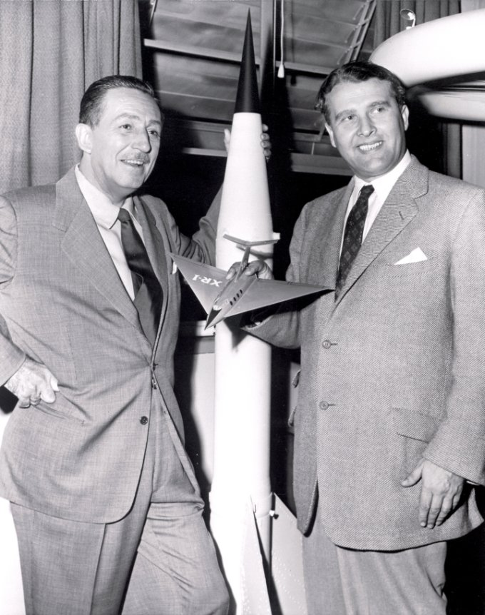 In 1954, Walt Disney, left, visited Dr. Wernher von Braun, then chief of the Guided Missile Development Operation Division for the Army Ballistic Missile Agency at Redstone Arsenal in Huntsville, Alabama. Soon after, they collaborated on a series of three educational films about space exploration for the Disneyland television series. Image Credit: NACA